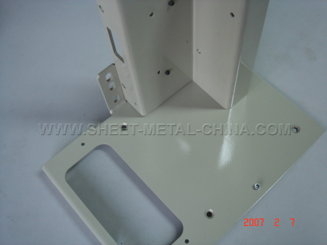 Steel bracket, Sheet metal welding,Shown after white powdercoat